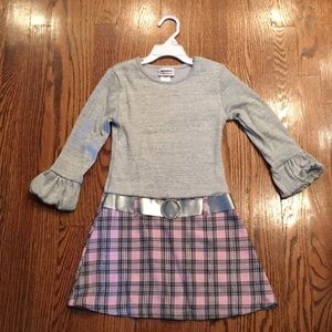 Girls Silver Sparkle and Pink Plaid Belted Dress